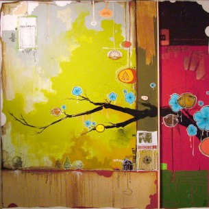 "48 x 48"" mixed media on canvas"