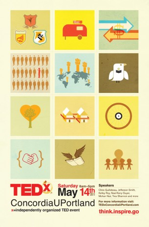 TEDxConcordiaUPortland: 12 original images representing the themes highlighted throughout the event.