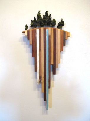 """32"""" x 14"""" salvaged wood and plastic  This piece will be on display and available for purchase at the (e)merge art fair..."""