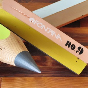 Giant pencils made from reclaimed 4 x 4&quot;s, with screend graphic and letraset graphics.
