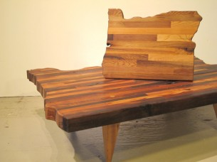 "These Oregon state coffee and side tables are made from all salvaged western red cedar. Legs are old growth fir. The coffee table rests at 5' L x 3'W x 12""H, with the slab at..."