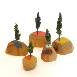 "These little sculptures are inspired by Portland's local mountain majesty Mt. Hood and Richard Buckminster ""Bucky"" Fuller. Made from reclaimed old growth fir scraps, varying in sizes from 5"" to 8""."
