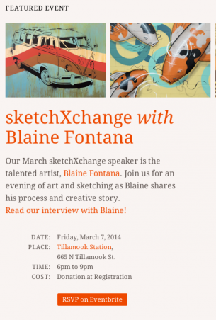 I have the honor to have been asked to be the next speaker at the local cult favorite speaker series sketchXchange in Portland, OR. This on-going series presented by the community non profit group wemakepdx.com brings in...